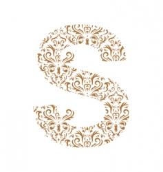 floral letter s ornament font vector image vector image