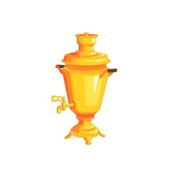 Golden russian water boiler vector
