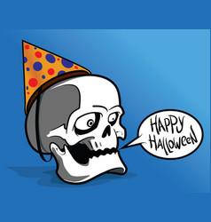 Halloween with skull vector