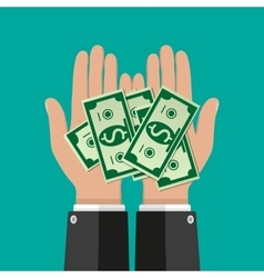Hands with dollar banknotes vector image vector image