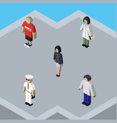 Isometric person set of guy male girl and other vector