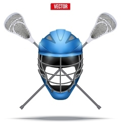 Lacrosse sticks and helmet label vector