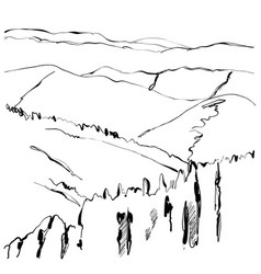 Landscape hand drawn vector