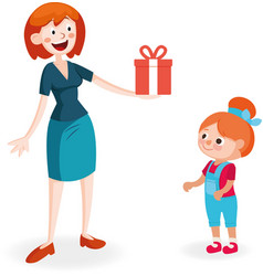 mother giving gift to daughter vector image vector image