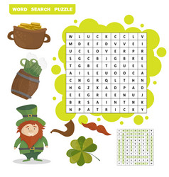 Patricks day holiday themed word search puzzle - vector