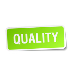 Quality green square sticker on white background vector