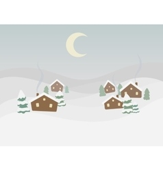 Rural winter landscape cartoon vector image