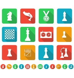 Set of icons on the chess theme vector