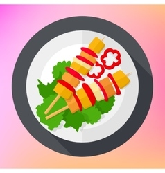 Shashlik kebab barbecue flat icon vector