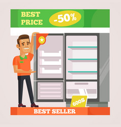 Shop assistant man character selling appliances vector
