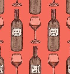Sketch wine set in vintage style vector image