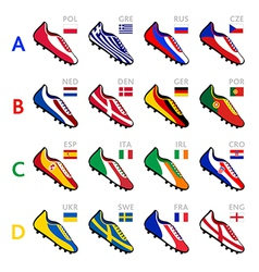 soccer team shoes vector image vector image