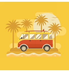 Surfing bus poster vector
