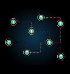 Tether cryptocurrency network background style vector