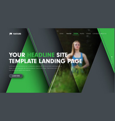 universal banner template for the landing page of vector image vector image