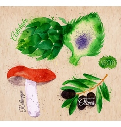 Vegetables watercolor rotkappe artichokes black vector