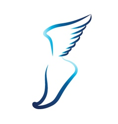 Flying foot logo vector image