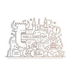 Halloween - line flat design card vector