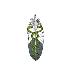 Medical snake eagle feather drawing vector
