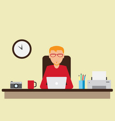 Office worker working on the computer vector