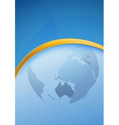 Modern blue folder golden border - globe vector
