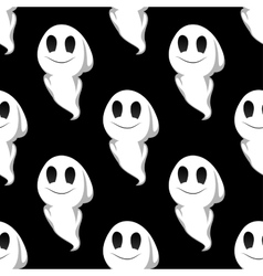 Halloween ghosts seamless pattern background vector image