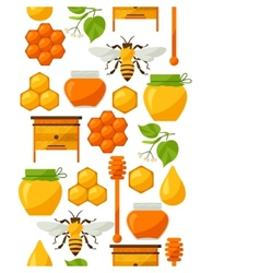 Seamless pattern with honey and bee objects vector