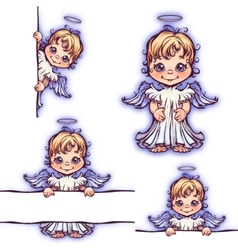 Set of cute angel with panel for text vector