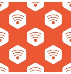 Orange hexagon wi-fi pattern vector