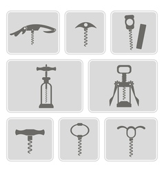 Set of monochrome icons with corkscrew vector