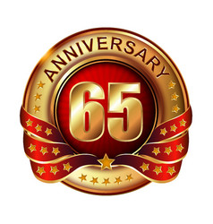 65 anniversary golden label with ribbon vector image vector image