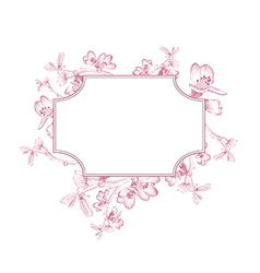 Vintage Border of Spring Cherry Blossom vector image