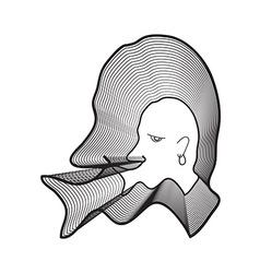 Repeat line of man head wearing earrings with big vector