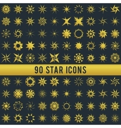 Set of vintage golden star vector