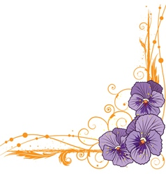 Border with violet pansies vector