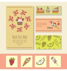 Business cards with the image of ice cream ice vector
