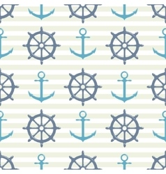 Seamless pattern with steering wheel and anchor on vector