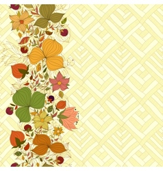 Seamless doodle border of flowers and berries vector