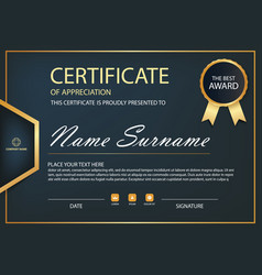 black and gold elegance horizontal certificate vector image vector image