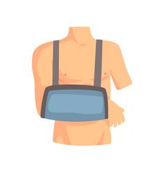 broken arm with a plaster cast cartoon vector image
