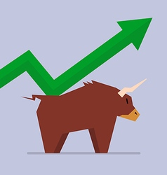 Bull with graph up trend vector