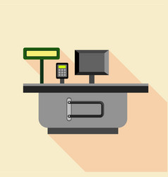Cash supermarket desk icon flat style vector