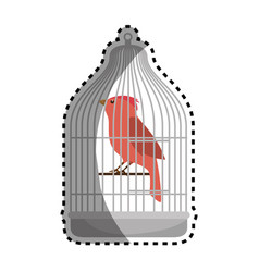 cute bird in cage mascot vector image vector image