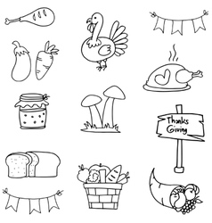 Doodle of thanksgiving object collection vector