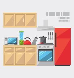 Flat design of kitchen interior vector