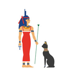 Flat isis egypt goddes and black cat vector