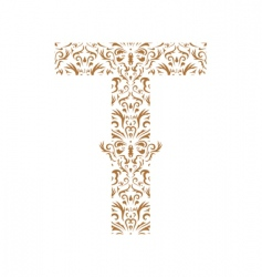 floral letter t ornament font vector image vector image