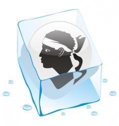 frozen button flag of corsica vector image vector image