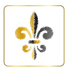 Golden fleur-de-lis heraldic emblem 4 vector image vector image