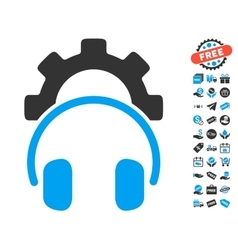 Headphones configuration gear icon with free bonus vector
